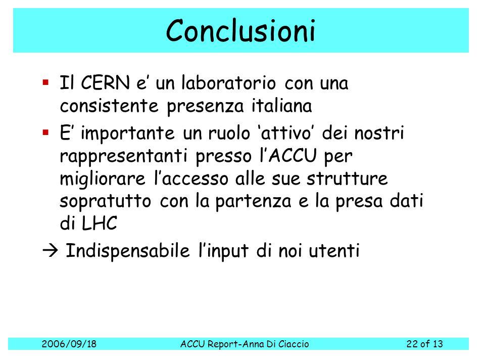 2006/09/18ACCU Report-Anna Di Ciaccio22 of 13 Conclusioni  Il CERN e' un laboratorio con una consistente presenza italiana  E' importante un ruolo '