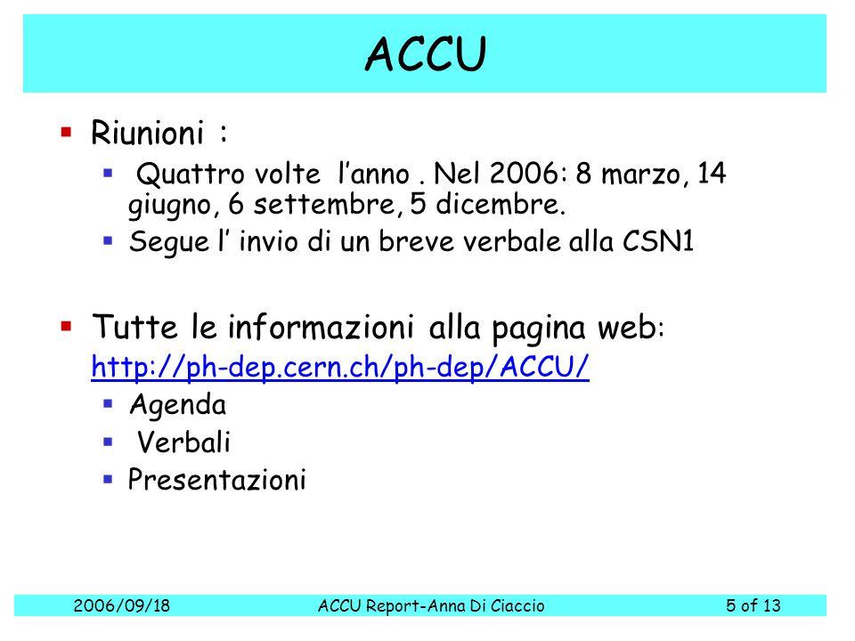 2006/09/18ACCU Report-Anna Di Ciaccio5 of 13 ACCU  Riunioni :  Quattro volte l'anno. Nel 2006: 8 marzo, 14 giugno, 6 settembre, 5 dicembre.  Segue