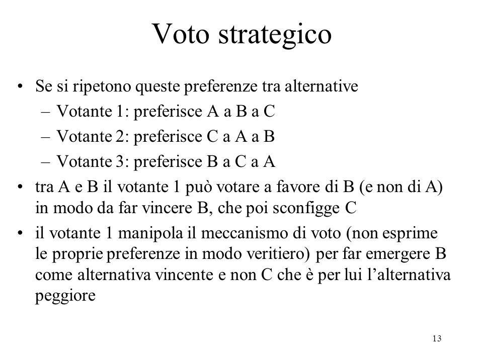13 Voto strategico Se si ripetono queste preferenze tra alternative –Votante 1: preferisce A a B a C –Votante 2: preferisce C a A a B –Votante 3: preferisce B a C a A tra A e B il votante 1 può votare a favore di B (e non di A) in modo da far vincere B, che poi sconfigge C il votante 1 manipola il meccanismo di voto (non esprime le proprie preferenze in modo veritiero) per far emergere B come alternativa vincente e non C che è per lui l'alternativa peggiore