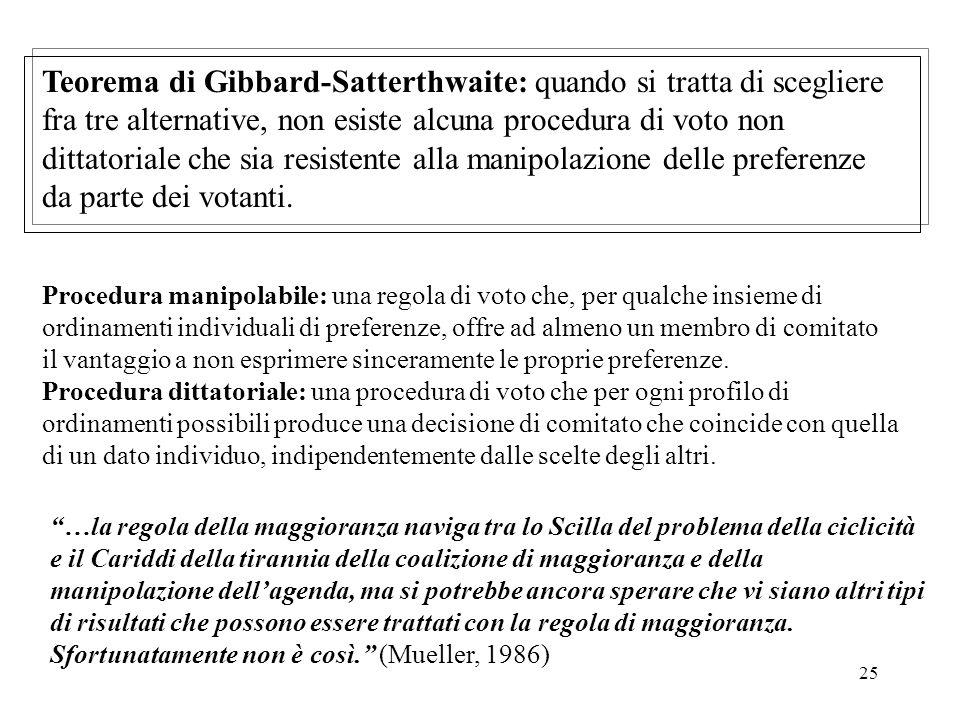 25 Teorema di Gibbard-Satterthwaite: quando si tratta di scegliere fra tre alternative, non esiste alcuna procedura di voto non dittatoriale che sia resistente alla manipolazione delle preferenze da parte dei votanti.