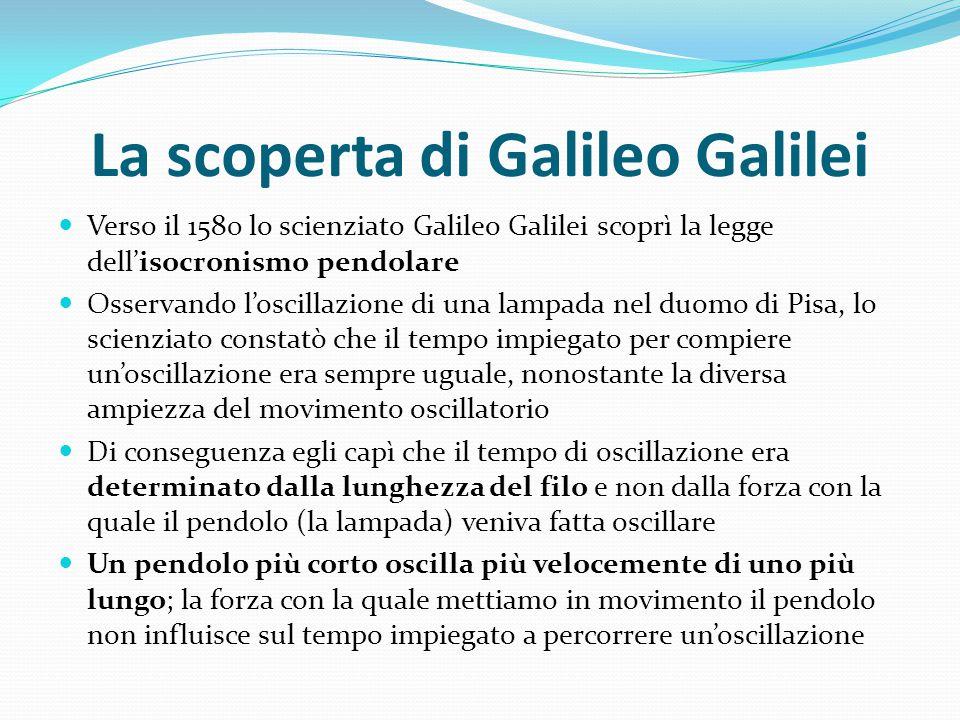 La scoperta di Galileo Galilei Verso il 1580 lo scienziato Galileo Galilei scoprì la legge dell'isocronismo pendolare Osservando l'oscillazione di una