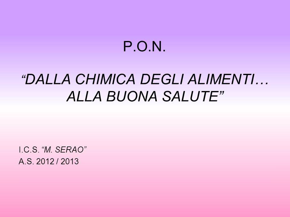 P.O.N. DALLA CHIMICA DEGLI ALIMENTI… ALLA BUONA SALUTE I.C.S. M. SERAO A.S. 2012 / 2013