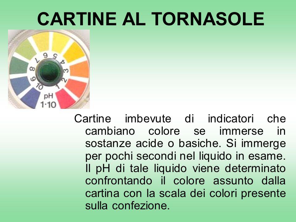 CARTINE AL TORNASOLE Cartine imbevute di indicatori che cambiano colore se immerse in sostanze acide o basiche.