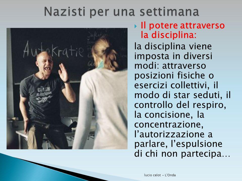  Il potere attraverso la disciplina: la disciplina viene imposta in diversi modi: attraverso posizioni fisiche o esercizi collettivi, il modo di star