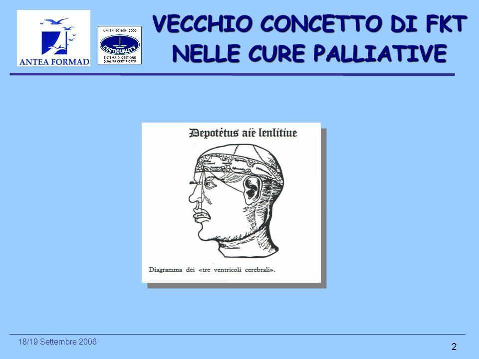18/19 Settembre 2006 2 VECCHIO CONCETTO DI FKT NELLE CURE PALLIATIVE