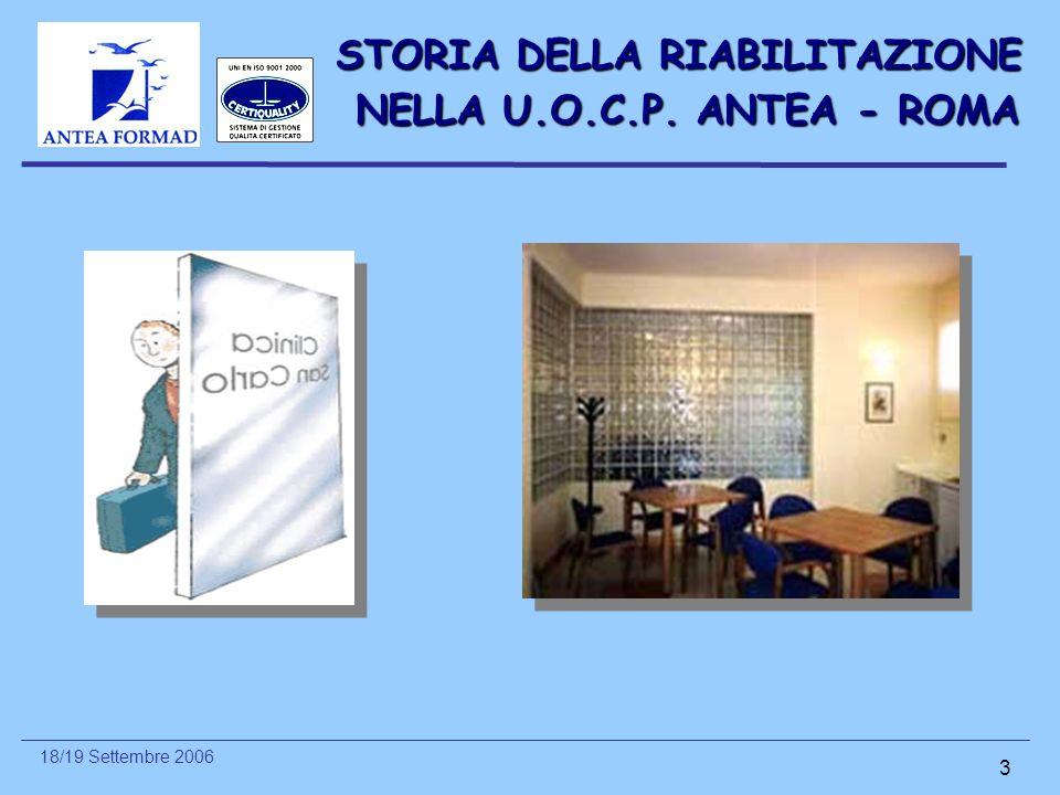 18/19 Settembre 2006 3 STORIA DELLA RIABILITAZIONE NELLA U.O.C.P. ANTEA - ROMA NELLA U.O.C.P. ANTEA - ROMA