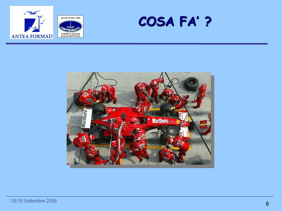 18/19 Settembre 2006 6 COSA FA' ?