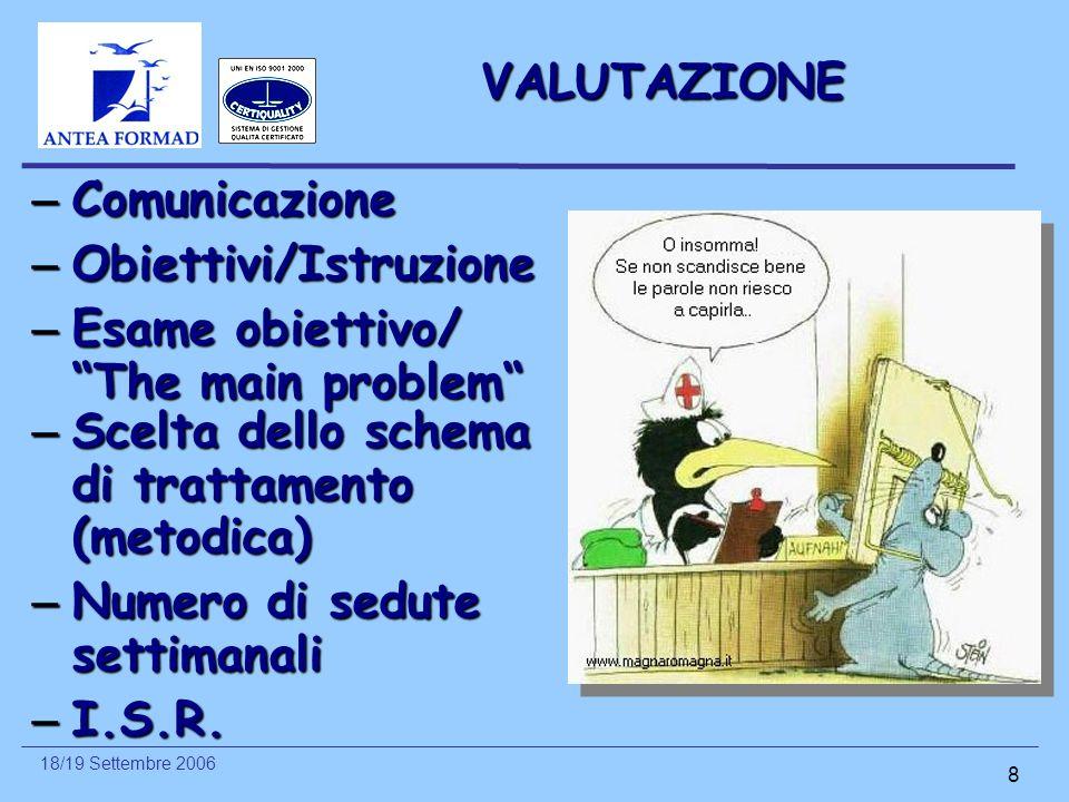 18/19 Settembre 2006 8 VALUTAZIONE – Scelta dello schema di trattamento (metodica) – Numero di sedute settimanali – I.S.R. – Comunicazione – Obiettivi