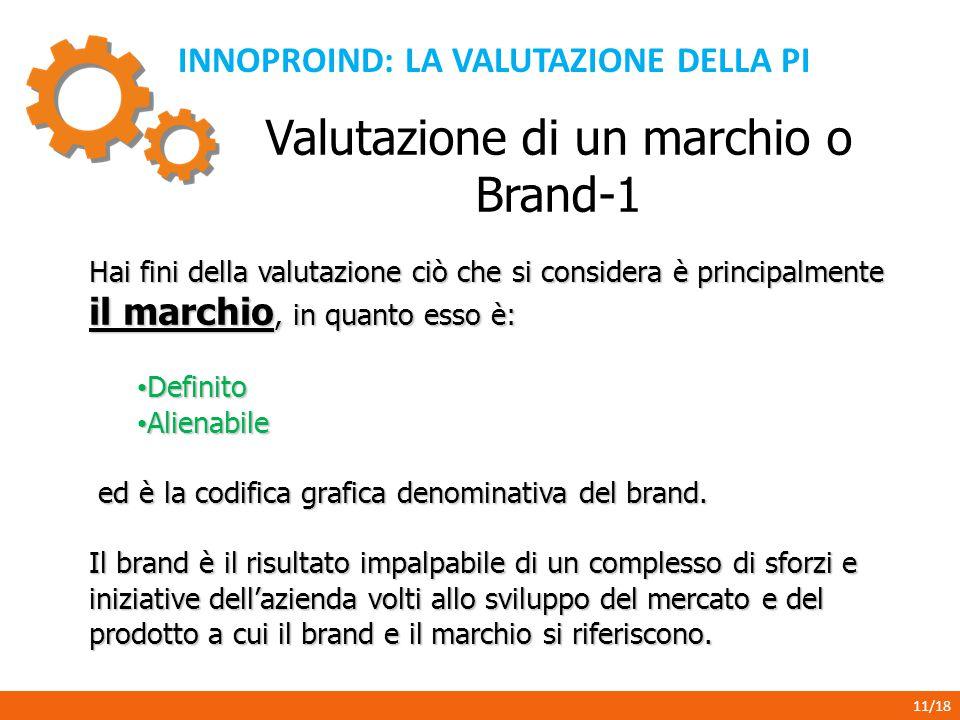 INNOPROIND: LA VALUTAZIONE DELLA PI 11/18 Valutazione di un marchio o Brand-1 Hai fini della valutazione ciò che si considera è principalmente il marc