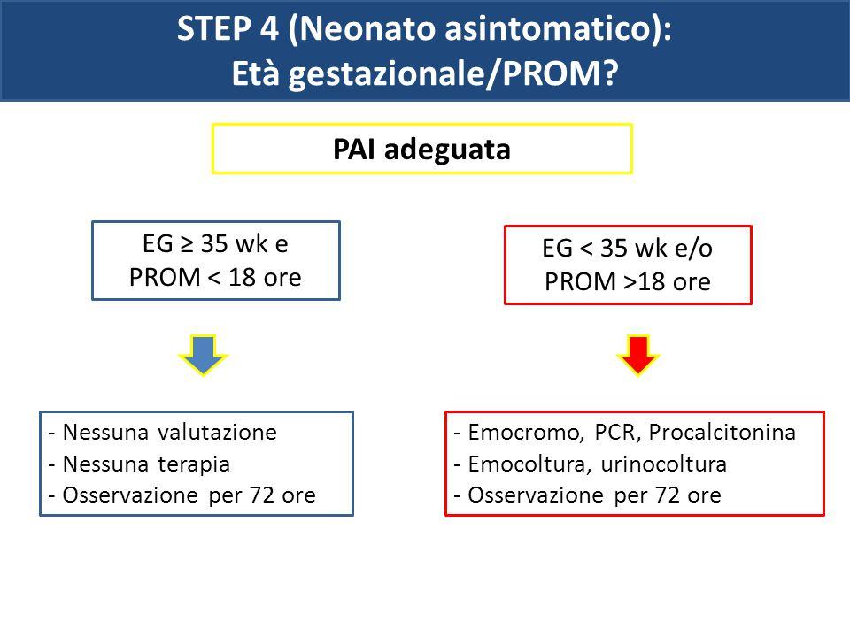 STEP 4 (Neonato asintomatico): Età gestazionale/PROM? PAI adeguata - Nessuna valutazione - Nessuna terapia - Osservazione per 72 ore EG ≥ 35 wk e PROM