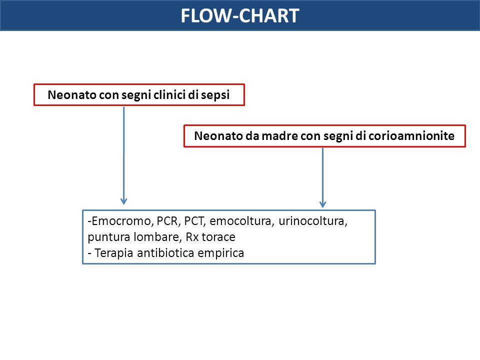 Neonato con segni clinici di sepsi Neonato da madre con segni di corioamnionite -Emocromo, PCR, PCT, emocoltura, urinocoltura, puntura lombare, Rx tor