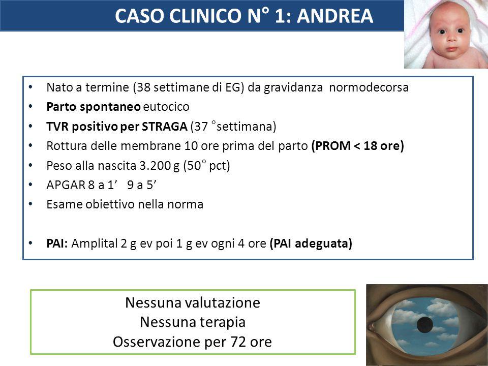 CASO CLINICO N° 1: ANDREA Nato a termine (38 settimane di EG) da gravidanza normodecorsa Parto spontaneo eutocico TVR positivo per STRAGA (37 °settima