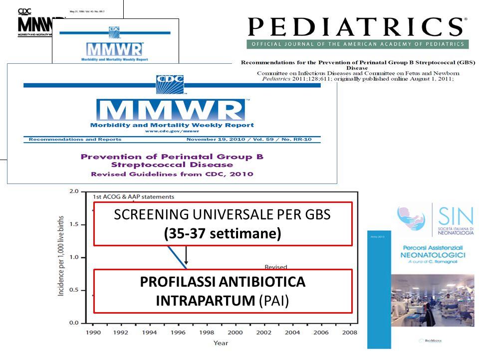 SCREENING UNIVERSALE PER GBS (35-37 settimane) PROFILASSI ANTIBIOTICA INTRAPARTUM (PAI)