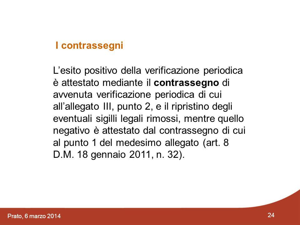 24 Prato, 6 marzo 2014 L'esito positivo della verificazione periodica è attestato mediante il contrassegno di avvenuta verificazione periodica di cui