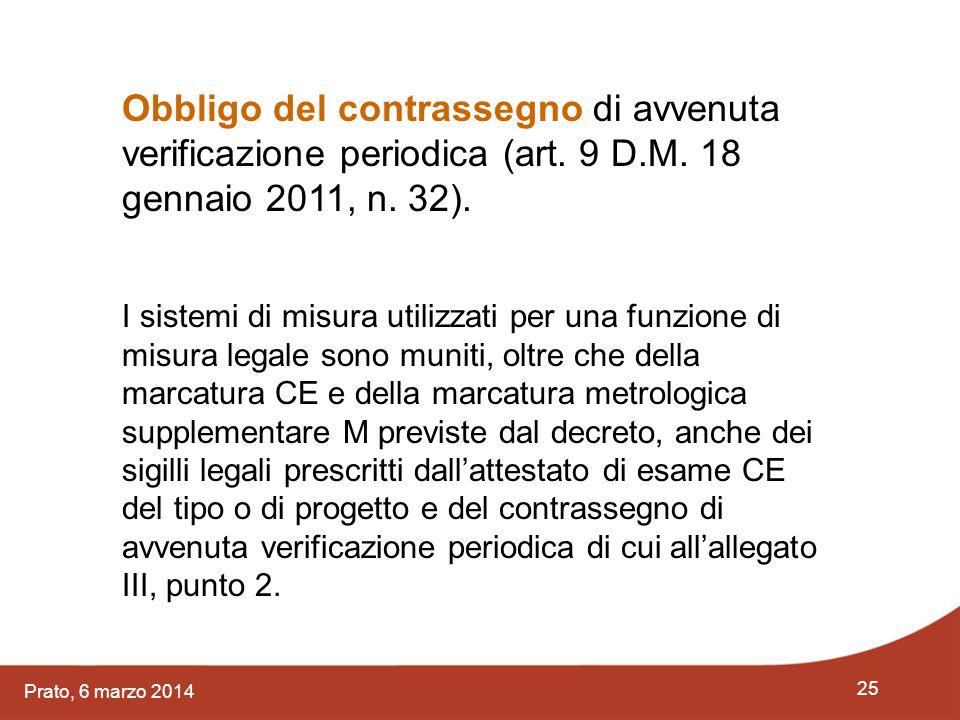 25 Prato, 6 marzo 2014 Obbligo del contrassegno di avvenuta verificazione periodica (art. 9 D.M. 18 gennaio 2011, n. 32). I sistemi di misura utilizza