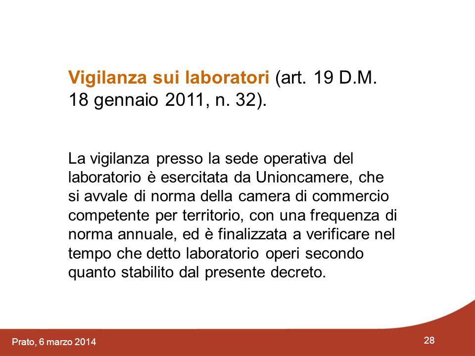 28 Prato, 6 marzo 2014 Vigilanza sui laboratori (art. 19 D.M. 18 gennaio 2011, n. 32). La vigilanza presso la sede operativa del laboratorio è esercit