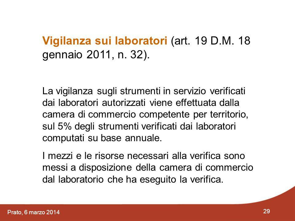 29 Prato, 6 marzo 2014 Vigilanza sui laboratori (art. 19 D.M. 18 gennaio 2011, n. 32). La vigilanza sugli strumenti in servizio verificati dai laborat