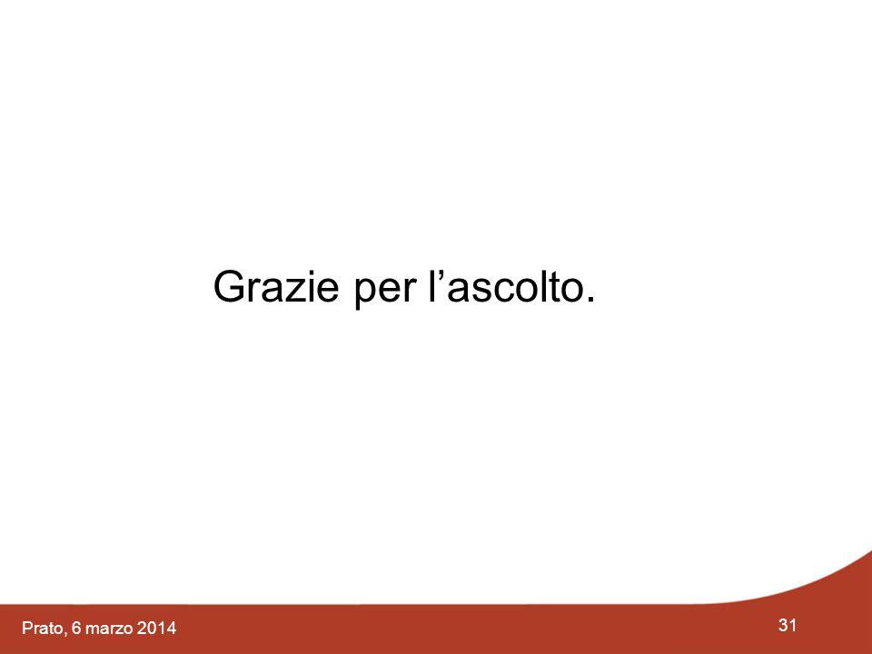 31 Prato, 6 marzo 2014 Grazie per l'ascolto.