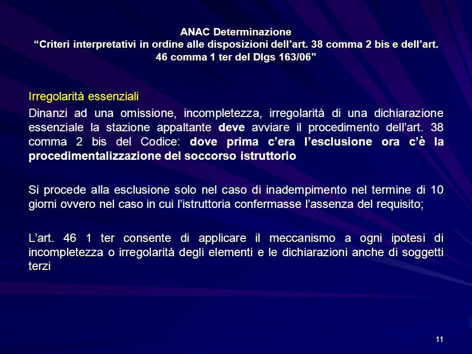 """ANAC Determinazione """"Criteri interpretativi in ordine alle disposizioni dell'art. 38 comma 2 bis e dell'art. 46 comma 1 ter del Dlgs 163/06"""" Irregolar"""