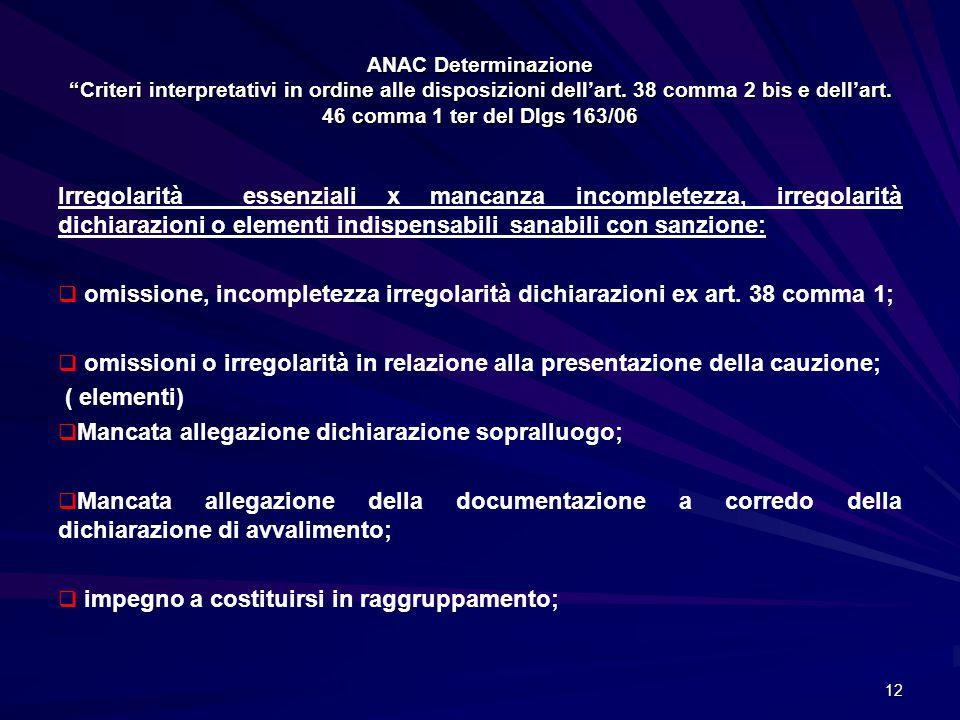 """ANAC Determinazione """"Criteri interpretativi in ordine alle disposizioni dell'art. 38 comma 2 bis e dell'art. 46 comma 1 ter del Dlgs 163/06 Irregolari"""