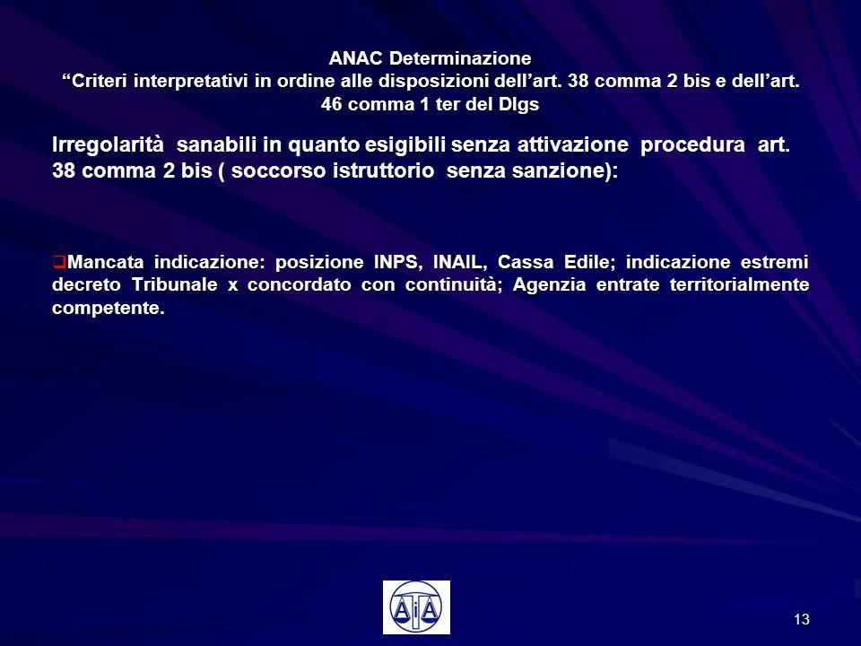 """ANAC Determinazione """"Criteri interpretativi in ordine alle disposizioni dell'art. 38 comma 2 bis e dell'art. 46 comma 1 ter del Dlgs Irregolarità sana"""