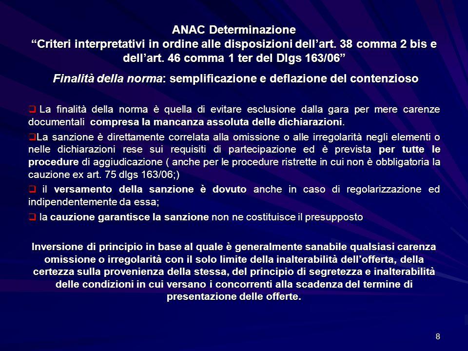 """ANAC Determinazione """"Criteri interpretativi in ordine alle disposizioni dell'art. 38 comma 2 bis e dell'art. 46 comma 1 ter del Dlgs 163/06"""" Finalità"""