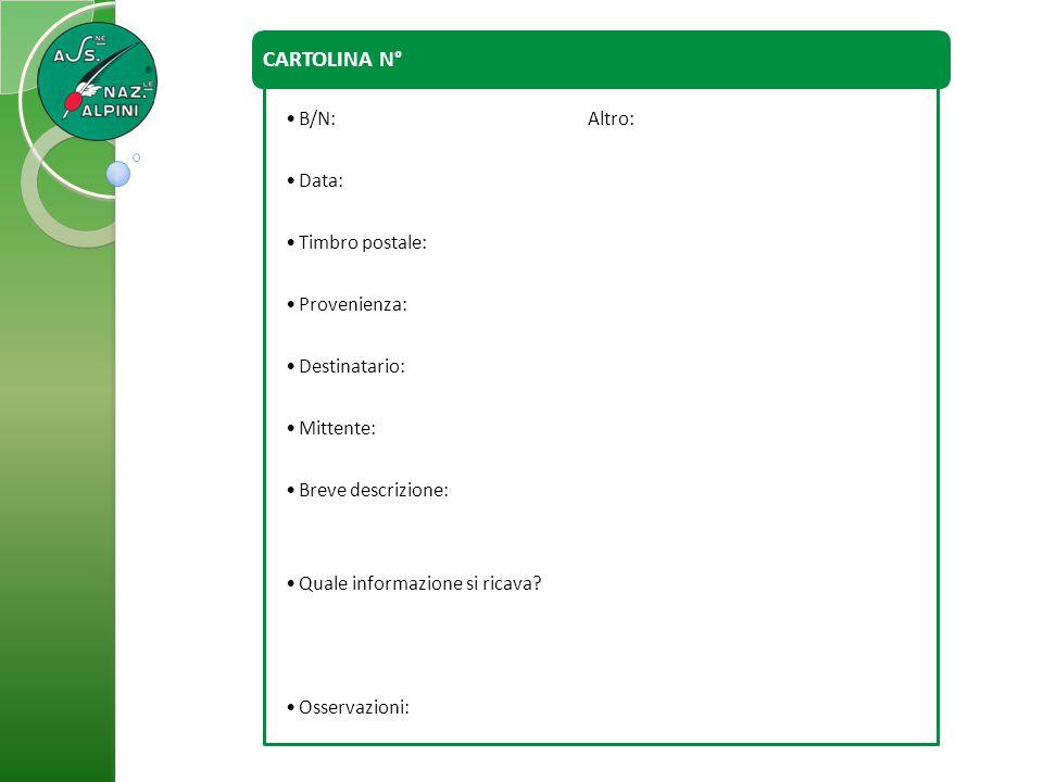 CARTOLINA N° B/N: Altro: Data: Timbro postale: Provenienza: Destinatario: Mittente: Breve descrizione: Quale informazione si ricava? Osservazioni: