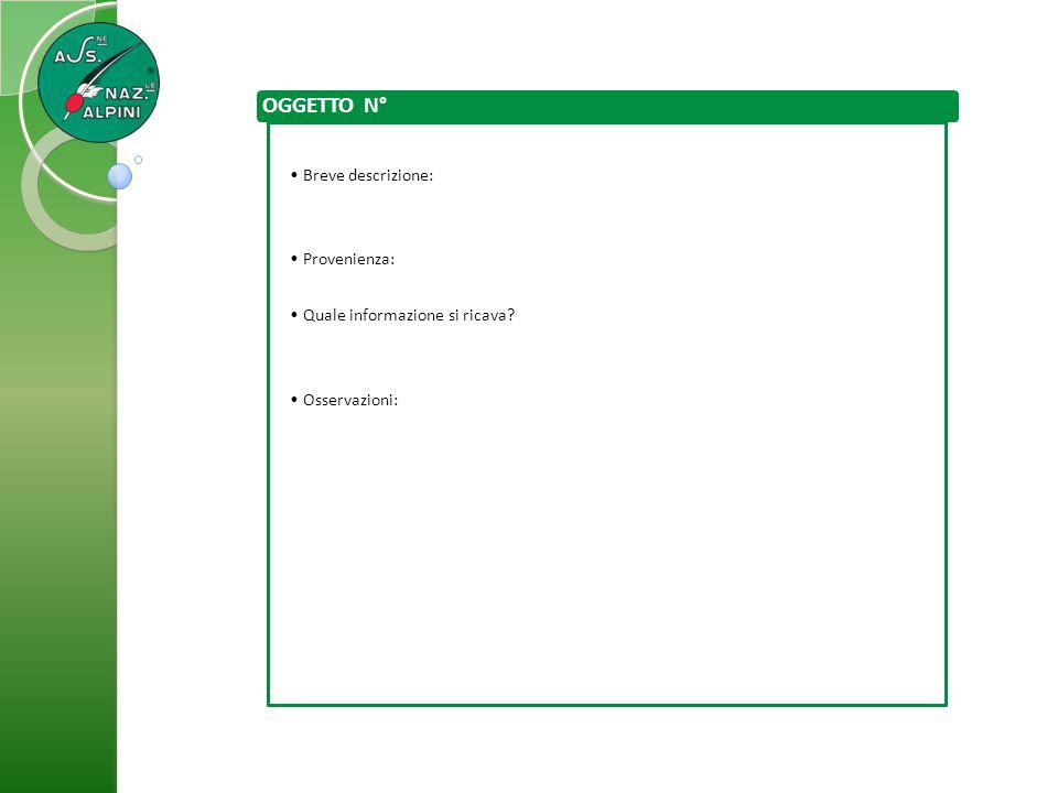 OGGETTO N° Breve descrizione: Provenienza: Quale informazione si ricava? Osservazioni: