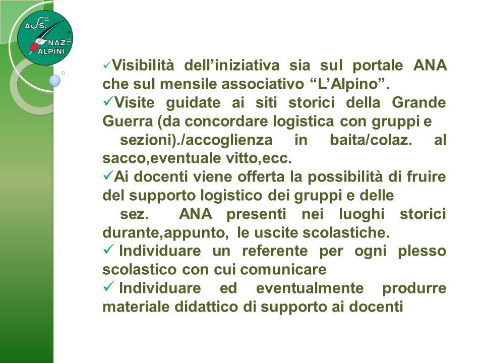 """Visibilità dell'iniziativa sia sul portale ANA che sul mensile associativo """"L'Alpino"""". Visite guidate ai siti storici della Grande Guerra (da concorda"""