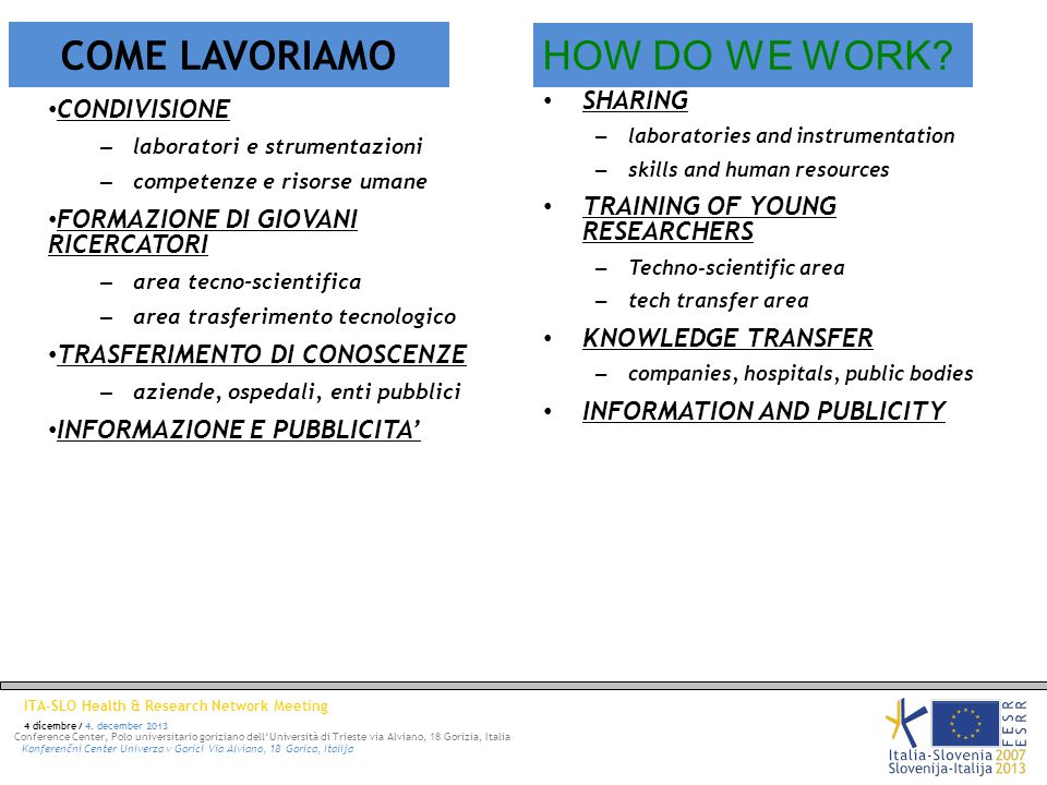 ITA-SLO Health & Research Network Meeting 4 dicembre / 4.