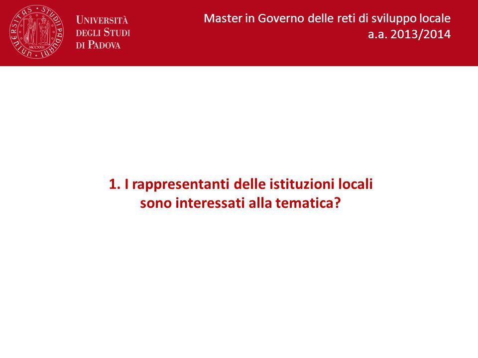 1.I rappresentanti delle istituzioni locali sono interessati alla tematica.