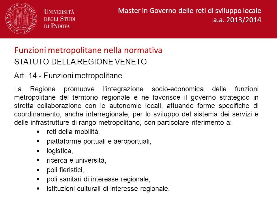 STATUTO DELLA REGIONE VENETO Art.14 - Funzioni metropolitane.