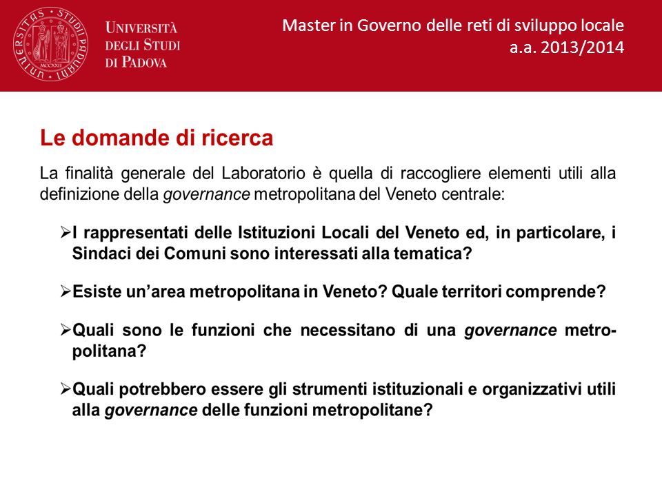 Master in Governo delle reti di sviluppo locale a.a. 2013/2014