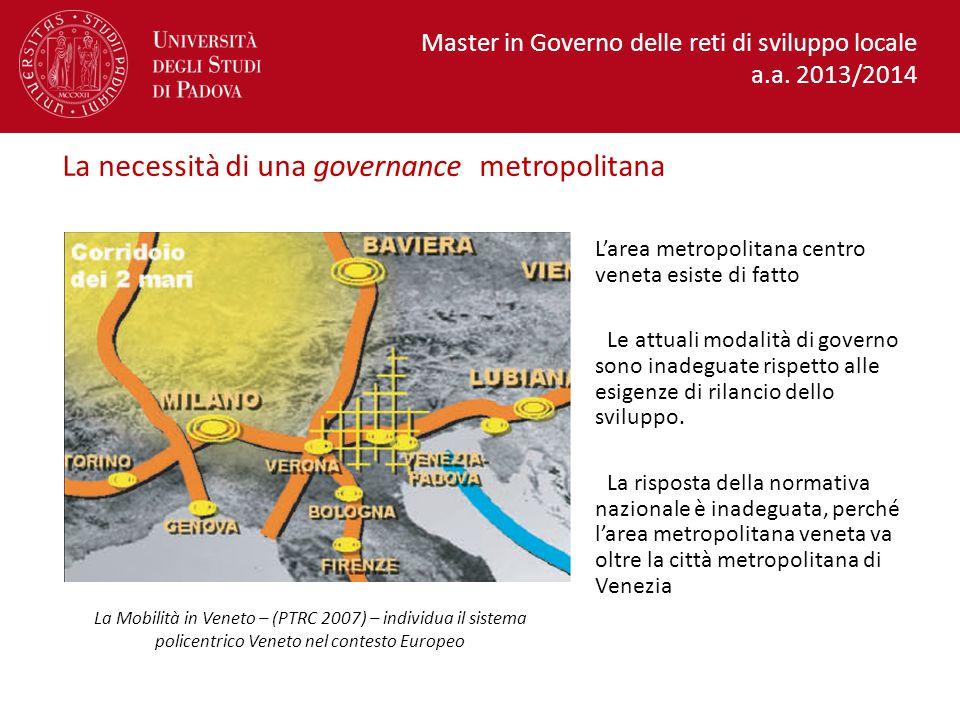 La necessità di una governance metropolitana L'area metropolitana centro veneta esiste di fatto Le attuali modalità di governo sono inadeguate rispetto alle esigenze di rilancio dello sviluppo.