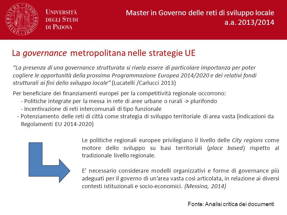 La presenza di una governance strutturata si rivela essere di particolare importanza per poter cogliere le opportunità della prossima Programmazione Europea 2014/2020 e dei relativi fondi strutturali ai fini dello sviluppo locale (Lucatelli /Carlucci 2013) Per beneficiare dei finanziamenti europei per la competitività regionale occorrono: - Politiche integrate per la messa in rete di aree urbane o rurali -> plurifondo - Incentivazione di reti intercomunali di tipo funzionale - Potenziamento delle reti di città come strategia di sviluppo territoriale di area vasta (indicazioni da Regolamenti EU 2014-2020) La governance metropolitana nelle strategie UE Le politiche regionali europee privilegiano il livello delle City regions come motore dello sviluppo su basi territoriali (place based) rispetto al tradizionale livello regionale.