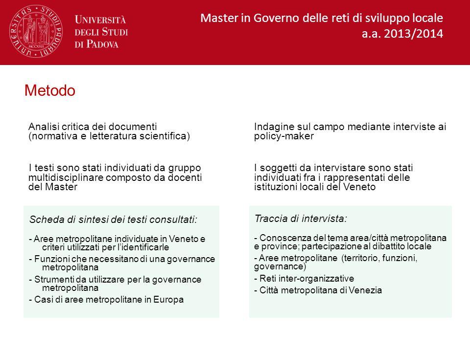 Unioni Montane 2014 Reti intercomunali già attive nella Regione Direzione Economia e sviluppo montano , Regione Veneto Master in Governo delle reti di sviluppo locale a.a.