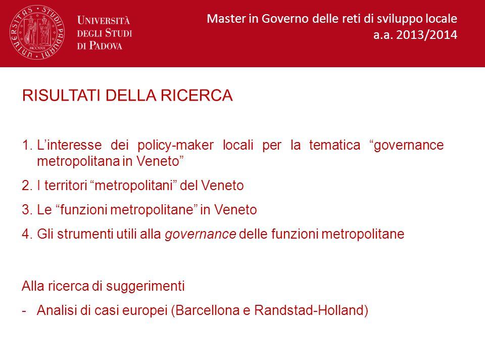 Le funzioni metropolitane del Veneto necessitano di una governance  I Comuni sono pronti a partecipare al processo di costruzione della governance metropolitana.