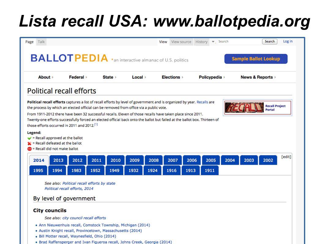 Lista recall USA: www.ballotpedia.org