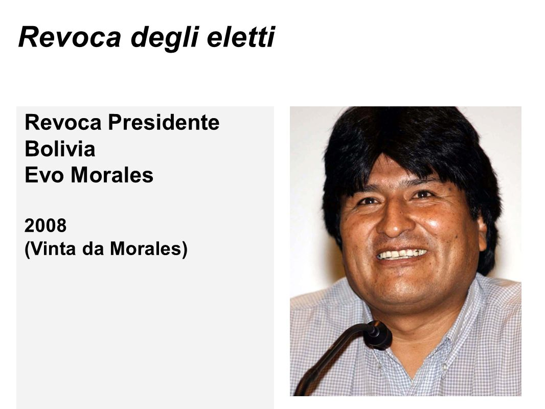 Revoca degli eletti Revoca Presidente Bolivia Evo Morales 2008 (Vinta da Morales)