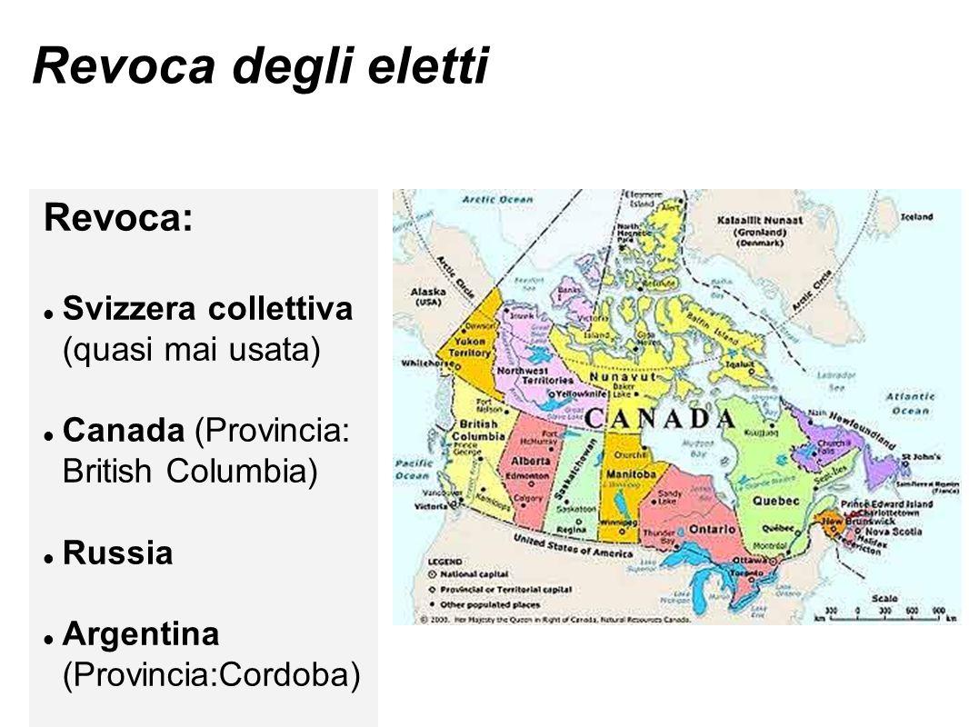 Revoca degli eletti Revoca: Svizzera collettiva (quasi mai usata) Canada (Provincia: British Columbia) Russia Argentina (Provincia:Cordoba)