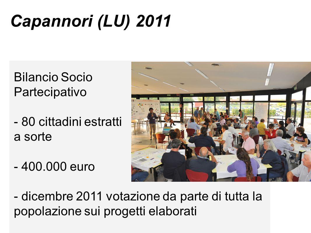 Capannori (LU) 2011 Bilancio Socio Partecipativo - 80 cittadini estratti a sorte - 400.000 euro - dicembre 2011 votazione da parte di tutta la popolazione sui progetti elaborati