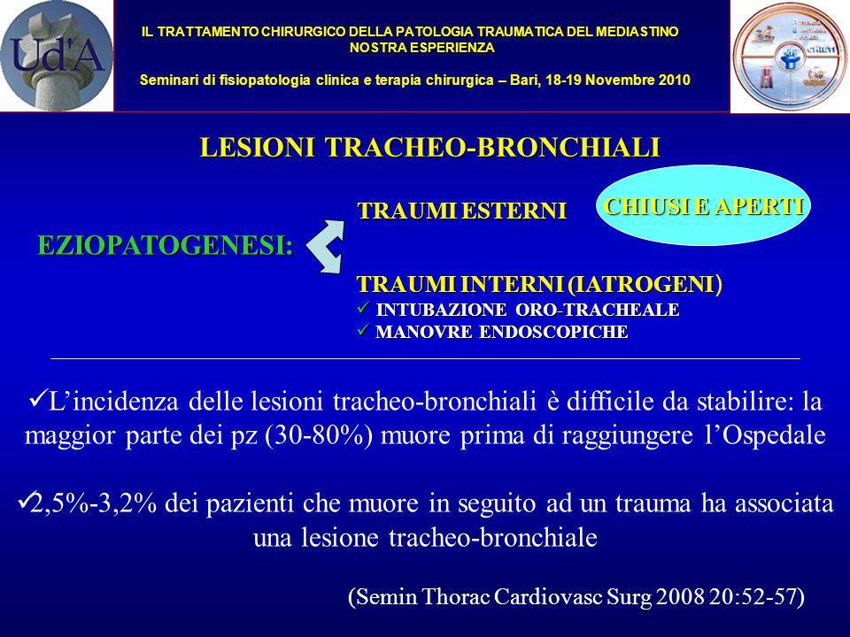 IL TRATTAMENTO CHIRURGICO DELLA PATOLOGIA TRAUMATICA DEL MEDIASTINO NOSTRA ESPERIENZA Seminari di fisiopatologia clinica e terapia chirurgica – Bari, 18-19 Novembre 2010 Il 74% dei traumi aperti coinvolge la trachea cervicale mentre la trachea intratoracica e i bronchi principali sono maggiormente lesionati da traumi chiusi (62%) Nei traumi chiusi, la lesione è localizzata più frequentemente nella parte terminale della trachea ed ha un andamento longitudinale nel punto di passaggio tra la pars cartilaginea e membranacea (a circa 2,5 cm dalla carena) Tali lesioni sono determinate dall'improvviso aumento di pressione endoluminale conseguente al trauma a glottide chiusa o all'improvviso spostamento laterale del polmone con stiramento dell'asse tracheo-bronchiale Rossbach M.M.