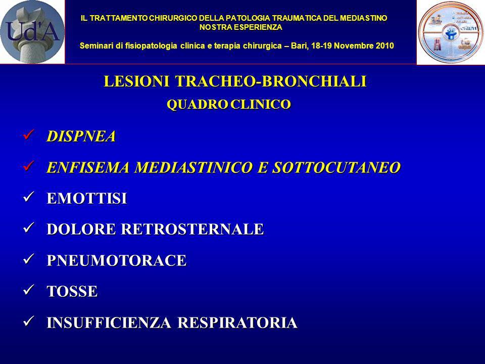 IL TRATTAMENTO CHIRURGICO DELLA PATOLOGIA TRAUMATICA DEL MEDIASTINO NOSTRA ESPERIENZA Seminari di fisiopatologia clinica e terapia chirurgica – Bari, 18-19 Novembre 2010 RX TORACE RX TORACE TC COLLO E TORACE TC COLLO E TORACE Endoscopia virtuale Endoscopia virtuale BRONCOSCOPIA BRONCOSCOPIA Toilette endobronchiale Toilette endobronchiale Valutazione topografica Valutazione topografica Indirizzo terapeutico Indirizzo terapeutico ITER DIAGNOSTICO LESIONI TRACHEO-BRONCHIALI