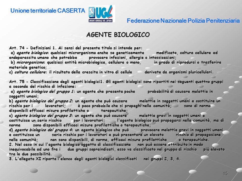 15 Federazione Nazionale Polizia Penitenziaria AGENTE BIOLOGICO Art. 74 - Definizioni 1. Ai sensi del presente titolo si intende per: a) agente biolog