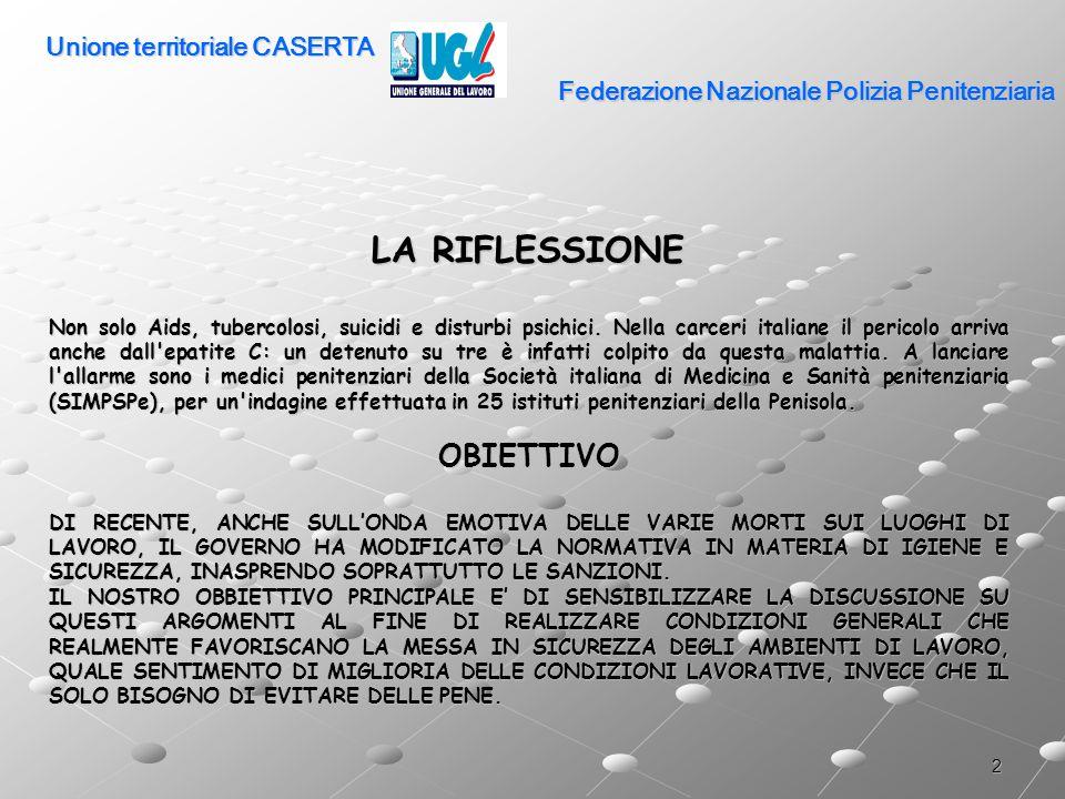 2 Federazione Nazionale Polizia Penitenziaria LA RIFLESSIONE Non solo Aids, tubercolosi, suicidi e disturbi psichici. Nella carceri italiane il perico