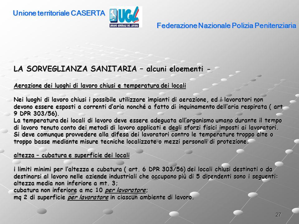 27 Federazione Nazionale Polizia Penitenziaria LA SORVEGLIANZA SANITARIA – alcuni eloementi - Aerazione dei luoghi di lavoro chiusi e temperatura dei