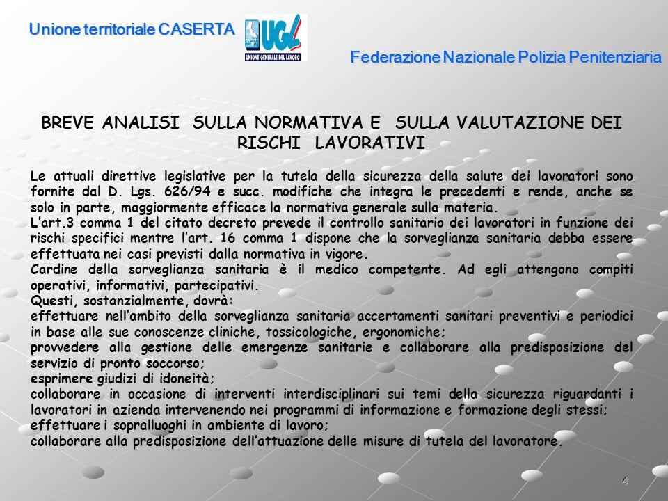 25 Federazione Nazionale Polizia Penitenziaria I SERVIZI DI POLIZIA PENITENZIARIA CONCETTO DI LAVORO USURANTE il d.lgs.