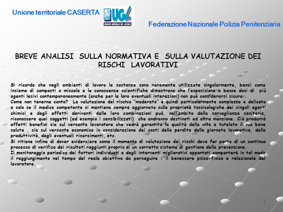 18 Federazione Nazionale Polizia Penitenziaria PREVENZIONE secondo D.Lgs 626/94 Servizio di prevenzione e protezione Art.