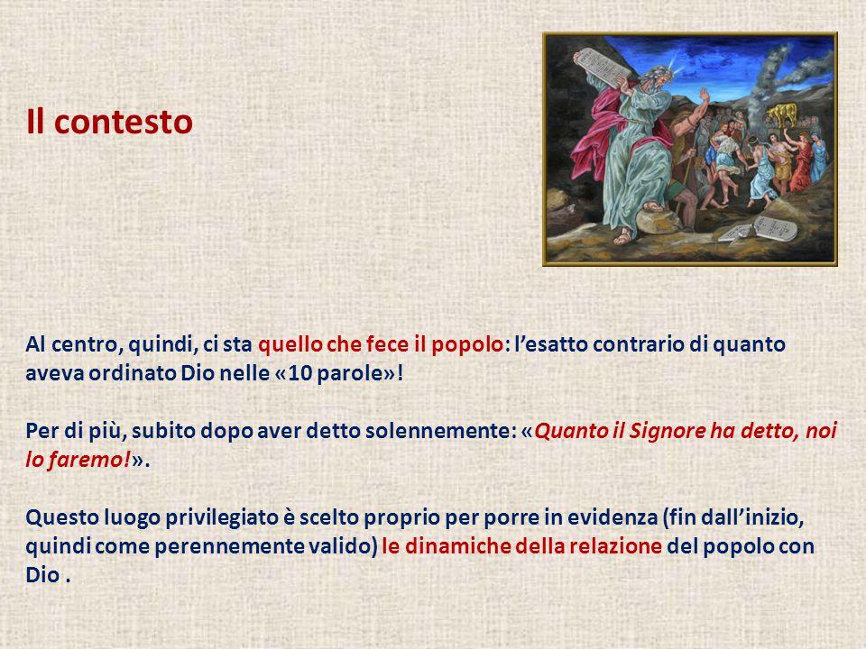 Capitolo 32 Il vitello d'oro (1-6) Il Signore avverte Mosè (7-10) Preghiera di Mosè (11-14) Mosè spezza le tavole della Testimonianza (15-20) Il ruolo di Aronne nel peccato del popolo (21-24) Zelo dei leviti (25-29) Nuova preghiera di Mosè (30-35) Il racconto in 3 capitoli