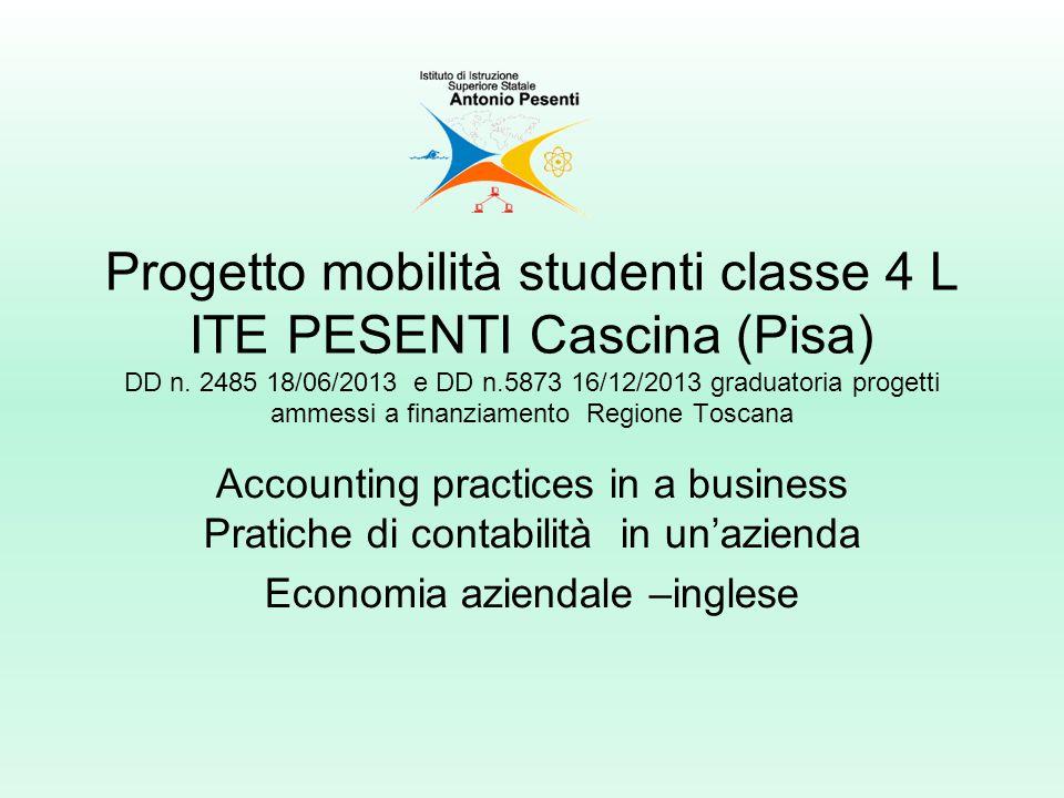 Progetto mobilità studenti classe 4 L ITE PESENTI Cascina (Pisa) DD n.